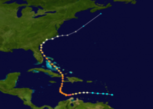 Figure 1: Hurricane track of Matthew, courtesy  of NOAA/NHC. Background image courtesy of NASA.
