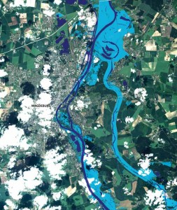 Rapid Flood Extent over the city of Magdeburg, Germany, derived from a Pléiades-HR data (70 cm) acquired the 10 June 2013 during the Elbe River flood event.   Image credit: SERTIT, CNES/Astrium Services/Spot Image