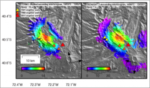 The CEOS Volcano Pilot provides SAR imagery to demonstrate the benefits of satellite-based volcano monitoring. In this image, Bristol University was able to identify areas at risk of eruption at Cordon-Caulle volcano, Chile. Source: Bristol University.