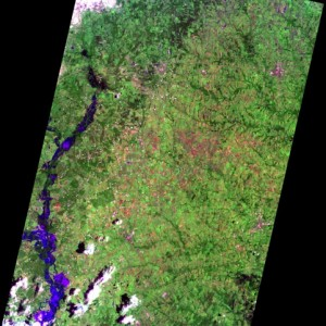 EO-1 image showing the flooding along Peach Creek in Texas at 1045 Central Daylight Time on 27 May 2015. Courtesy of NASA.