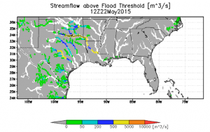 Inundation forecast at 1-km resolution for southeastern Texas valid 1800 UTC 28 May 2015 produced by the Global Flood Monitoring System of the University of Maryland in support of the Flood Pilot.