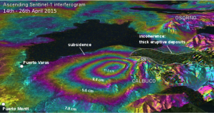 Perspective view of deformation at Calbuco as determined from a Sentinel-1a interferogram. Courtesy of ESA