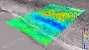 2D displacement map derived from Sentinel-1 pixel correlation following the 25 April 2015  M 7.8 Gorkha, Nepal earthquake  and generated by the Remote Sensing Technology Institute of DLR. The Sentinel-1 data allowed to measure a negative range shift of about 0.8 meters, corresponding to a possible uplift of about 1 meter and an azimuth shift on the order of 1.8 meters. This is an absolute measurement derived from Sentinel-1 orbital geometry without any reference point on ground.  Courtesy of DLR.