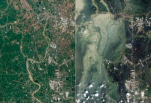 "DARMA = Data Access for Risk Management.  The Japanese Daruma or Darma is a traditional handmade wishing doll, often referred to as a ""goal doll"", that keeps people focused on achieving their goals. Figure 2: Flooding in Ayutthaya and Pathum Thani Provinces in October (right), compared to before the flooding in July (left), Credit: USGS NASA Earth Observatory"