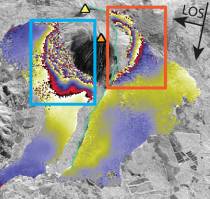 InSAR data spanning eruptions in January and March of 2014 show surface deformation due to magmatic activity and gravitational instability. A co-eruptive RADARSAT-2 interferogram shows significant motion along the unstable southwest sector of the edifice (Figure left). Each color fringe represents 2.8 cm of deformation. Fringes located in the blue box indicate motion away from the satellite, while red boxes indicate motion toward the satellite. This interferogram shows ~6 cm of deformation on the eastern portion of the edifice caused by the intrusion of a dike. Even greater displacements are observed on the southwest flank due to co-eruptive flank motion. Coherence loss is significant due to the magnitude of deformation, but other SAR data have measured ~83 cm of co-eruptive flank displacement.