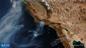 NOAA-20 VIIRS First Light Image Captures One of the Largest Wildfires in California History (Image generated by the NOAA Visualization Lab and NESDIS/STAR)